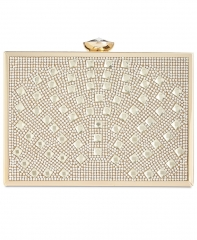 Clear Hot-fixed Box Crystal Evening Purses with Gold Metal Frame HH-CR89725