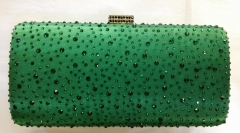 Green Crystals Hot Fixed Satin Clutch Crystal Evening Bags HH-HF17715