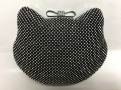 Cat Black Crystal Mesh Minaudiere Wedding Party Bridal Crystal Evening Bags Wholesale HH-RH80673