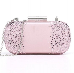 Pink Satin Hot Fixed Crystals Clutches Rhinestone Crystal Evening Bags HH-HF17768