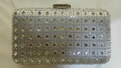 Hot Fixed Silver Rhinestones Box Clutch Crystal Evening Bags HFCR73816
