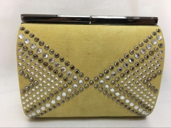 Clear Silver Crystals Hot Fixed Yellow Suede Wedding Crystal Clutch Purse HH-CR83008