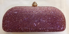 Light Rose Metal Minaudiere Full Diamond Crystal Clutch Evening Bag Wholesale HH-HF17748