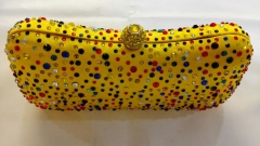 Multi-Color Rhinestones Yellow Box Clutch Wedding Party Crystal Evening Bags Purses HH-RH50916