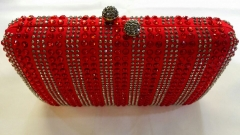 Hot Fixed Red and Silver Crystals Wedding Bridal Handbag Crystal Evening Bags HH-RH50720