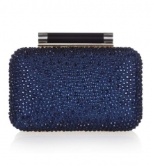 Navy Blue Crystal Hot Fixed Minaudiere Bridal Crystal Evening Bags with Resin Closure HH-RH82408