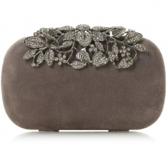 Grey Faux Suede Box Evening Bags Clutches with Crystal Branches Closure HH-CR85167