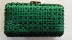 Hot Fixed Emerald Rhinestones Box Clutch Crystal Evening Bags HFCR73818