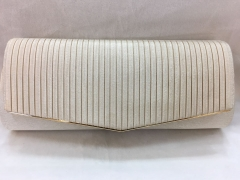 Beige Bridal Clutch Bag Pleated Satin Flapover Clutch HH-SSA35934