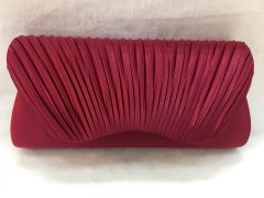 Brownish Red Evening Pleated Satin Flap Over Bridal Prom Clutch Bag HH-SSA35906
