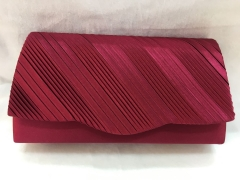 Brown Red Pleated Satin Flap Over Weddings Clutch Bags HH-SSA72120