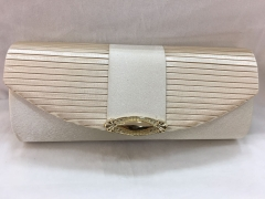 Beige Party Bridal Clutch Purse Pleated Satin Evening Bag HH-SSA35929