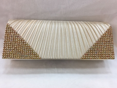 Rhinestones Clutch Wedding Party Pleated Satin Flapover Clutch HH-SSA35842