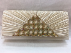 Rhinestones Clutch Wedding Party Pleated Satin Evening Bag HH-SSA35837