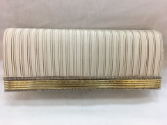 Beige Clutch Purse Envelope Pleated Satin Flapover Clutches HH-SSA35939