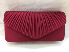 Brown Red Pleated Flap Over Party Clutches Prom Clutch Handbags HH-SSA35947
