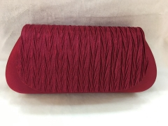 Brown Red Pleated Satin Flap Over Party Clutch Bags HH-SSA71537