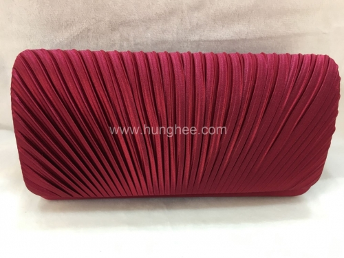 Brown Red Pleated Satin Flap Over Clutch Bags HH-SSA71528