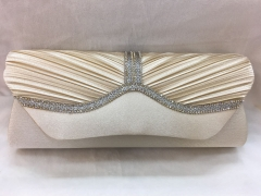 Rhinestones Clutch Bridal Party Pleated Satin Flapover Clutches Clutch HH-SSA35847