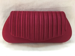 Brownish Red Satin Pleated Prom Purse Flap-Over Party Clutch Bag HH-SSA35910