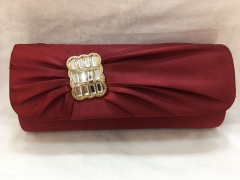 Brown Red Pleated Evening Bridal Rhinestones Satin Flapover Clutch HH-SSA76336