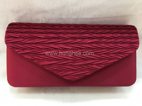 Brown Red Pleated Satin Flap Over Satin Evening Bags HH-SSA72124