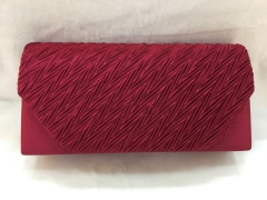 Brown Red Pleated Satin Flap Over Bridal Clutch bag HH-SSA72105