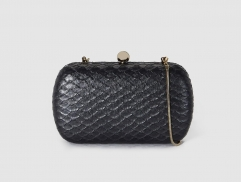 Black Faux Snakeskin Box Evening Clutch Bags Purses HH-PU9403