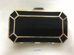 Black Satin Metallic Box Clutch Evening Bags Purses with Alloy Frame and Rhinestone Clasp HH-ME80662
