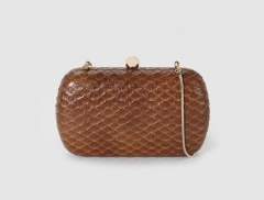 Brown Faux Snakeskin Evening Clutch Bags Purses HH-PU9405