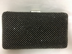 Black Crystal Mesh Box Clutch Rhinestone Evening Bags Purses HH-CR80667