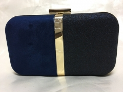 Half Navy Half Black Faux Leather Box Clutch Evening Bags Purses HH-PU30544