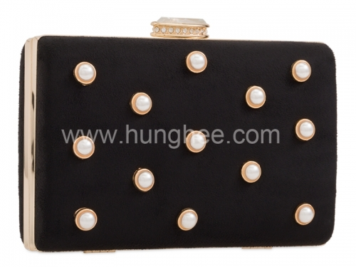 Black Faux Suede Box Evening Clutch Bags with White Pearls HH-BE66019