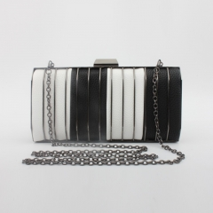 Metallic Box Clutch Evening Bags with Black and White Faux Leather HH-MC62628