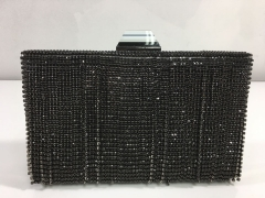 Black Fringed Diamond Chains Evening Rhinestone Fringed Clutches Bags HH-CR11429