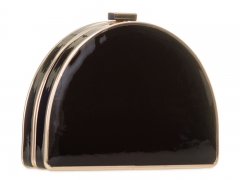 Half-Moon Black Patent PU Leather Evening Box Clutch Bags Faux Leather Evening Clutches HH-PU1864
