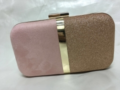 Pink Suede Gold Glitter PU Leather Hard Clutch Evening Bags Faux Leather Clutch Purse HH-PU10210