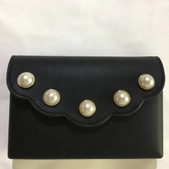 Black PU Leather Hard Clutches with Pearls PU Leather Evening Bags HH-PU10222