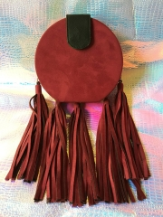 Long Tassel Hot Red Faux Suede Round Circle Box Clutch Party Bridal Evening Handbags HH-PU10256