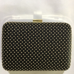 Gold Stud Black PU Leather Box Clutch Party Wallet Clutch Evening Purses HH-PU11356