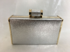 Silver Metallic Snakeskin PU Leather Box Clutch Purse Party Faux Leather Evening Bags HH-PU70941