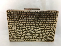 Gold Faux Crocodile Leather Hard Clutches PU Leather Evening Bags HH-PU72748