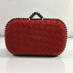 Hot Red Weave Satin Box Clutches Wedding Party Hard Case Evening Bags HH-SA20255