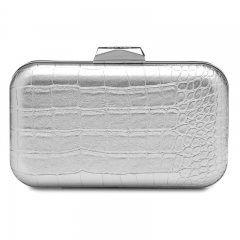 Silver Faux Crocodile Leather Box Clutches Wedding PU Leather Evening Purses HH-PU96476