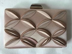 Beige Satin Box Clutches Wedding Party Hard Case Evening Purses HH-SA10252
