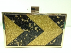 Gold Confetti and Glitter Acrylic Handmade Acrylic Box Evening Bags with Metal Frame HH-AC1362