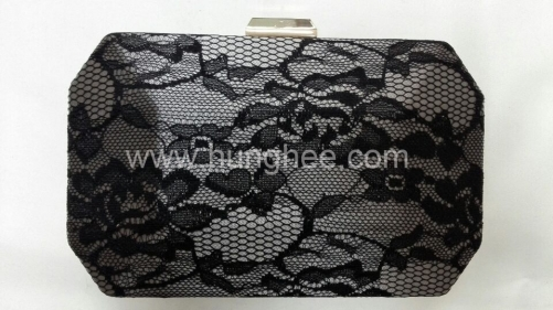 Black Lace Metal Case Clutch Evening Purses HH-LA20418