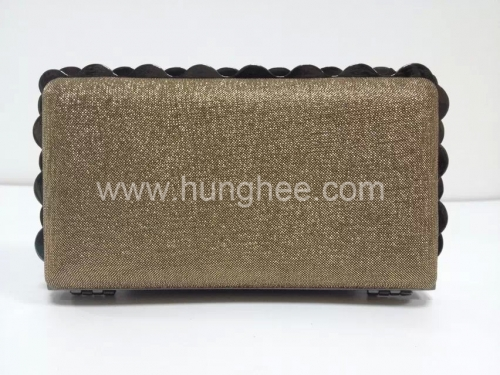 Brown Satin Fabric Box Evening Clutches with Gun-metal Alloy Frame HH-HD1326