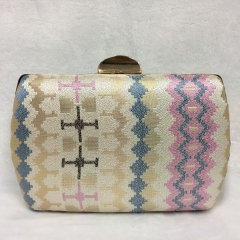 Hard Case Patterned Weaving Fabric Box Evening Clutches HH-HD25251