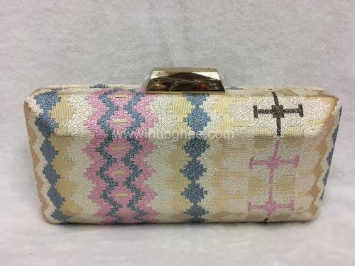 Hard Case Patterned Weaving Fabric Clutch Evening Bags HH-HD25255